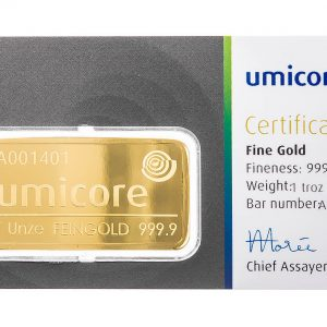 Umicore 1oz Gold Bullion Bar